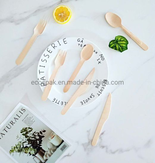Natural Biodegradable Compostable Disposable Wooden Flatware Tableware Cutlery Set Products