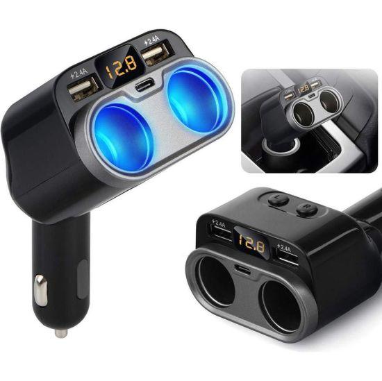 2 Socket Type-C Dual USB Ports 80W Car Cigarette Lighter