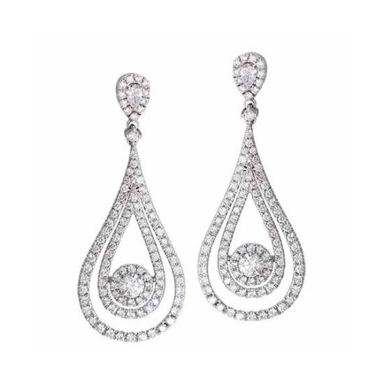925 Sterling Silver Round CZ Dangle Post Earrings