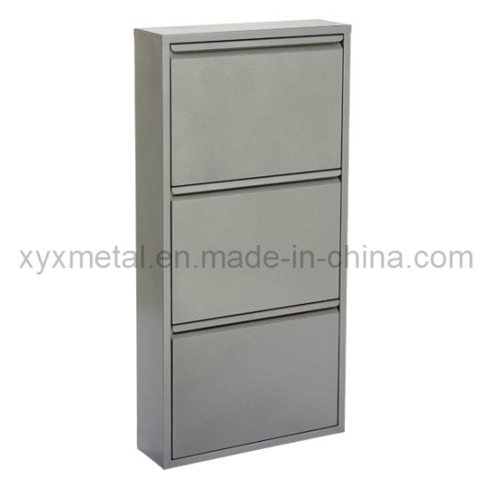 Fashion Style Grey Color Metal Shoe Cabinet
