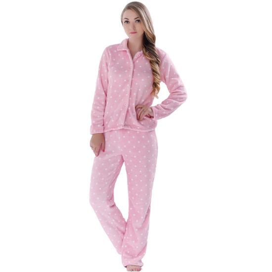 Womens Pyjamas Fleece Hoody Jacket Top 3 Piece Lounge Set Plus Sizes 4 to 24