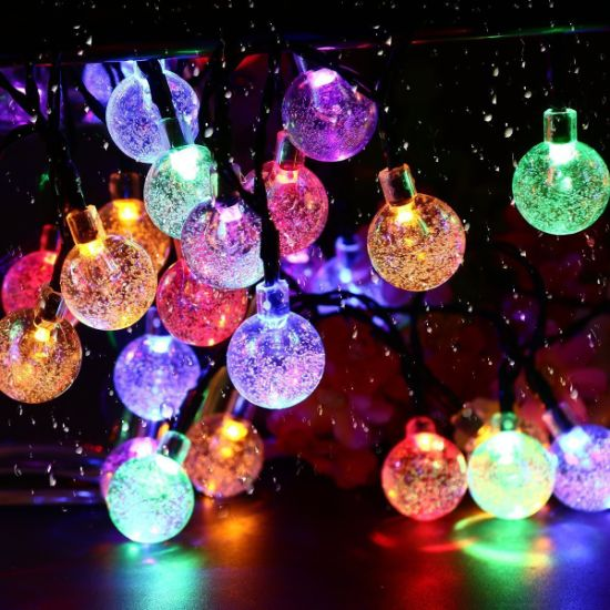 Solar String Lights Outdoor Led Crystal Balls Waterproof Globe Solar Powered Led Christmas Lights