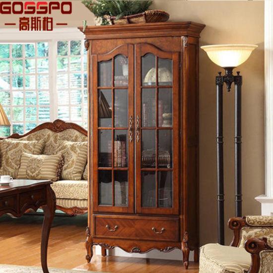 European Style Narrow Wood Bookshelf Bookcase With Glass Door Gsp18 009