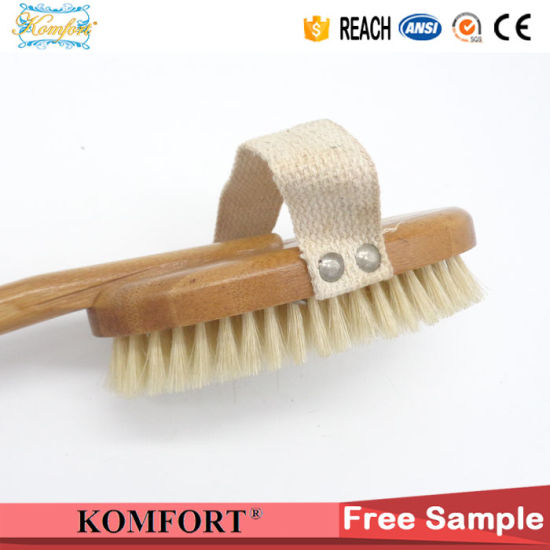 Natural Boar Bristles Dry Body Bamboo Back Scrubber SPA Brush for Skin pictures & photos