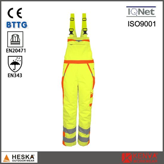 Men′s Work Wear Safety Bib Pants Hivi Waterproof Pants with Reflective Tape pictures & photos