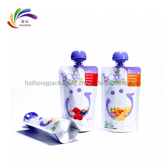 Custom Liquid Stand up Pouch Spout Pouches for Baby Food Packaging Bag pictures & photos
