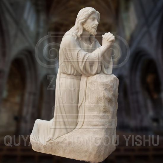 Natural White Marble Jesus Prayer Statue for Churches and Garden Decoration