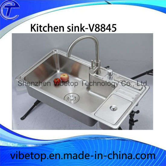 Export Stainless Steel Kitchen Sink with Board and Knife Shelf pictures & photos