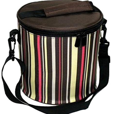 Wholesale Strip Printing Polyester Oversized Picnic Insulated Cooler Carry Lunch Bag