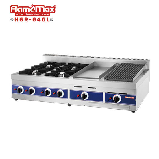 4 Burners Gas Range Gas Griddle Gas Grill with Multifunction (HGR-64GL)