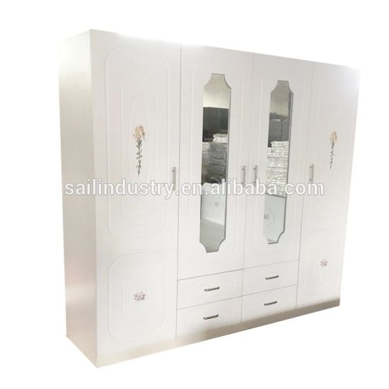 European Style Bedroom Furniture 4 Door Wardrobe Pure White Color