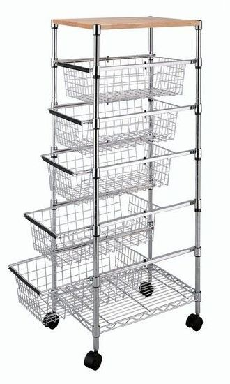 Adjule Drawers Wire Utility Cart