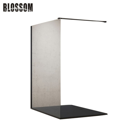 Bathroom Aluminum Profile Walk in Semi Frameless Black Shower Screen
