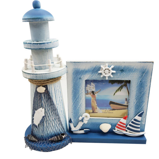 Blue Wooden Photo Frame with Lighthouse pictures & photos