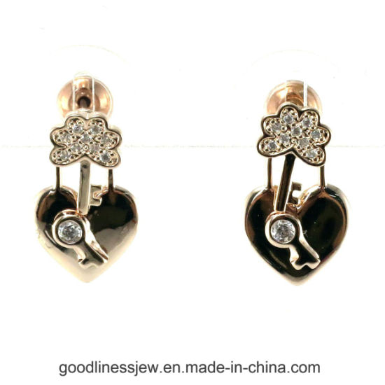 925 Silver Ear Stud Earring with Heart Shape 3A White CZ for Women (E6708) pictures & photos