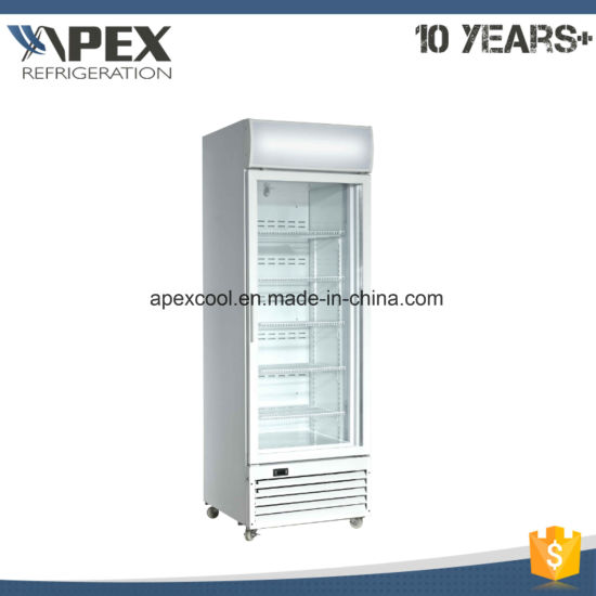 China Vertical Single Glass Door Upright Display Freezer For Ice