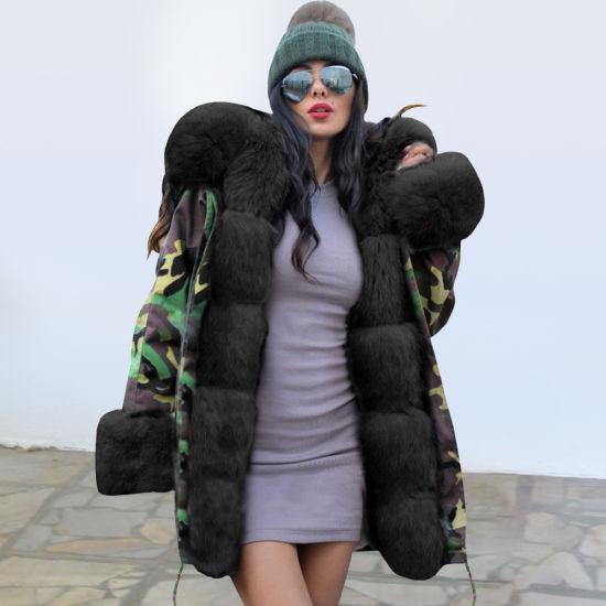 Slim Warm Women's Long Hooded Camouflage Plush Cotton Coat