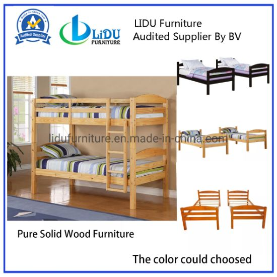 China Supplier Custom Strong Pine Wood Children Bunk Bed