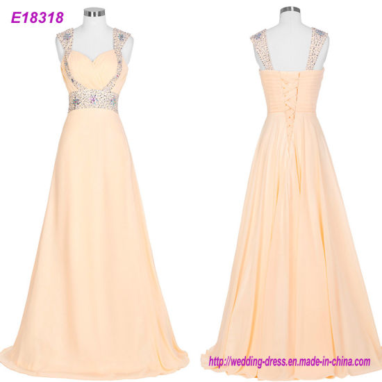 New Open Back Long Evening Dresses Tulle Hand Made Crystal Beading Prom Gowns