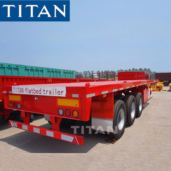 Titan 3 Axles 20FT 40FT Container Carrier Cargo Delivery Utility Flatbed 60 Tons Flat Bed/Deck/Body Truck and Semi Trailer Manufacturers