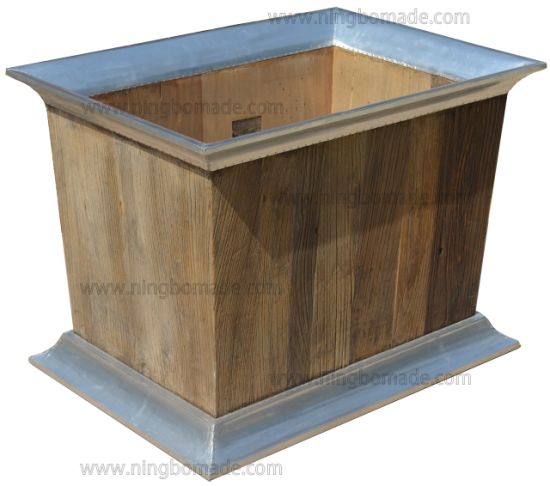 Vintage Industrial Multi Function Furniture Nature Aluminum Old Reclaimed Elm Wood Rectangular Flower Bucket