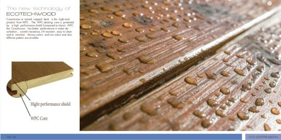 Solid Capped WPC Decking with Water Proof & Fire Proof Ce, Fsc, ISO, SGS pictures & photos