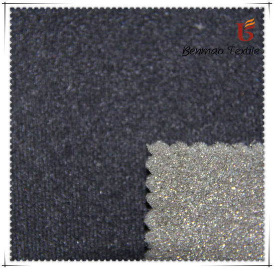 knitted Fabric 100% Polyester Velour Fabric Bonded with Foam pictures & photos