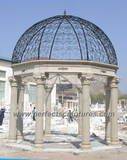 Outdoor Garden Marble Gazebo with Cast Iron Top (GR041)