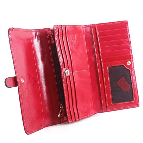 Factory Women Custom Fashion Credit Bank Card Genuine Leather Wallet pictures & photos