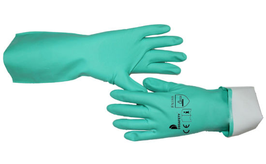 Green Chemical Resistant Diamond Textured Safety Working Nitrile Hand Gloves Ce 4101 En374-2