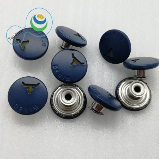 18mm Spraying Oil Metal Alloy Paint Button for Shirt/Jeans/Clothing Accessories (YF8-19)