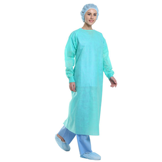 Disposable SMS Isolation Gown with Knit Cuff