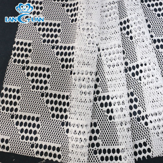 Low MOQ White Polyester Lace Fabric Stairs Pattern