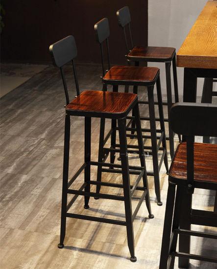 Metal Wood Bar Stool Chair Cafe, Metal And Wood Furniture