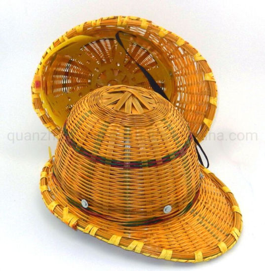 OEM Bamboo Weave Sunscreen Head Protection Helmet with Steel Plate pictures & photos
