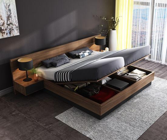 Chinese Furniture Home Hotel Standard Hydraulic Pressure Storage Kingsize Bed