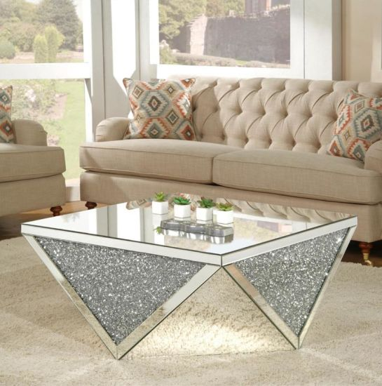 New Design Hot Sale Crushed Diamond Mirrored Coffee Table