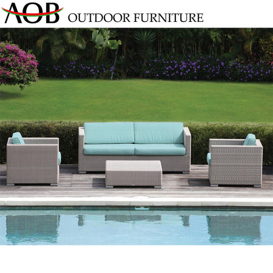 Hot Sale Outdoor Furniture Garden Lawn Rattan Wicker Corner Sofa Set with  Glass Table