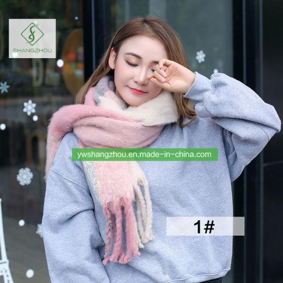 Europe Winter Fashion Circle Yarn Plaid Scarf Warmer Leisure Shawl
