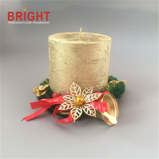 Christmas Custom Gold Lacker Rustic Pillar Candle for Home Decoration Candle