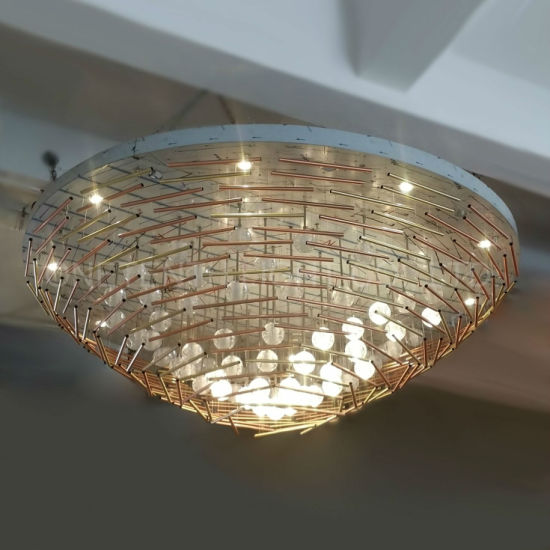 Simply Modern Crystal Ball and Steel Tube LED Chandelier at Function Room