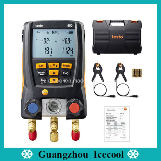 60 Refrigerants Original Testo550 Digital 2-Way Manifold Gauge with Two Clamp Temperature Probes Testo 550 No. 0563 1550 pictures & photos
