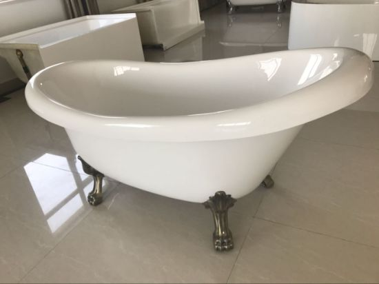 china 1700mm slipper clawfoot acrylic bathtub with zinc alloy leg