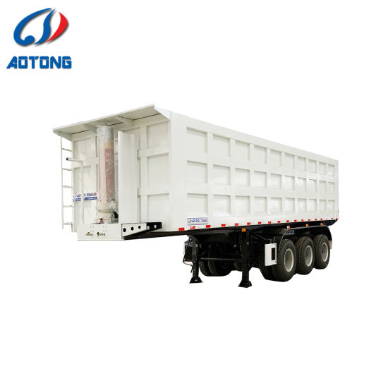 China 3 Axle 4 Axle 20 Ton 30 Ton 100 Ton Cylinder End Rear Tipper Dump Tipping Tractor Truck Semi Trailer