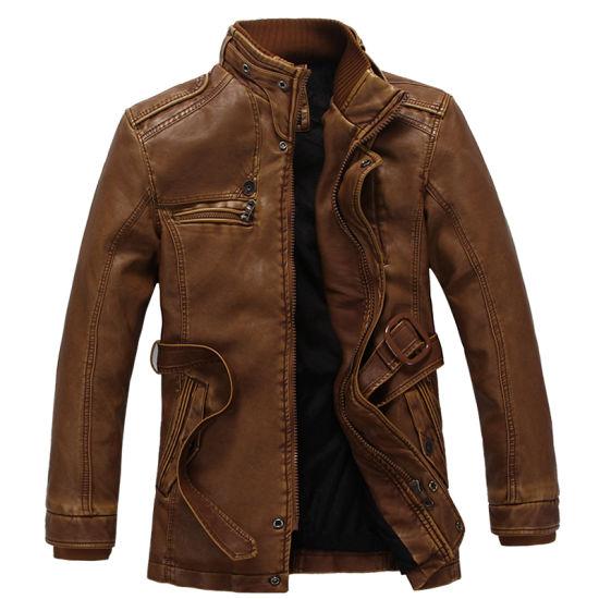 Men's Slim Jacket Men Washed PU Leather Motorcycle Jacket Casual Jacket