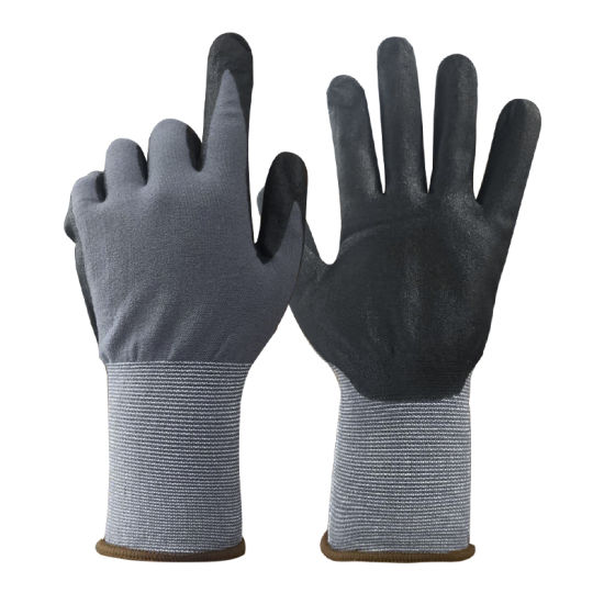 Comfortable 15 Gauge Nylon Liner Foam Nitrile Coated Hand Protective Anti-Slip Industrial Safety Working Gloves