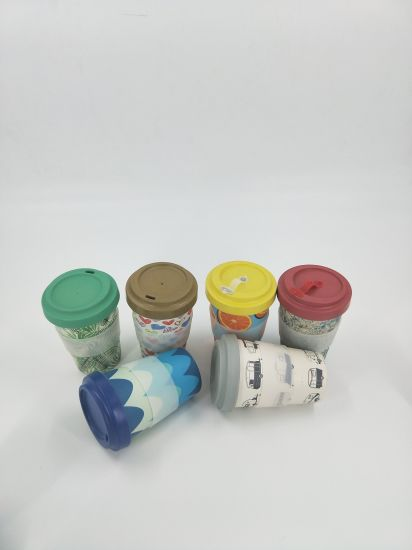 Colorful Bamboo Fiber Cup with Bamboo Fiber Lids pictures & photos