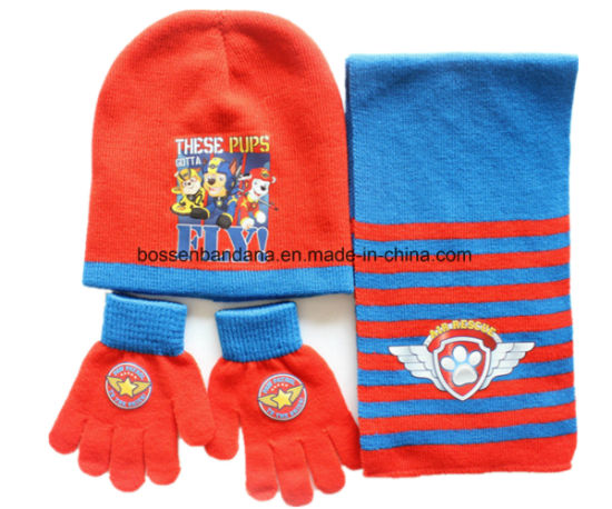 50ebc50efd7 China Factory Produce Customized Design Printed Acrylic Knitted Winter Kids  Beanie Scarf Set