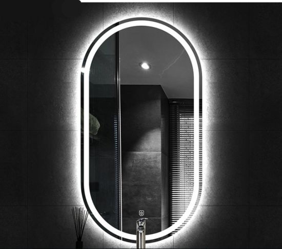 Oval Egg Illuminated Smart Decor Wall Silver LED Bathroom Mirror