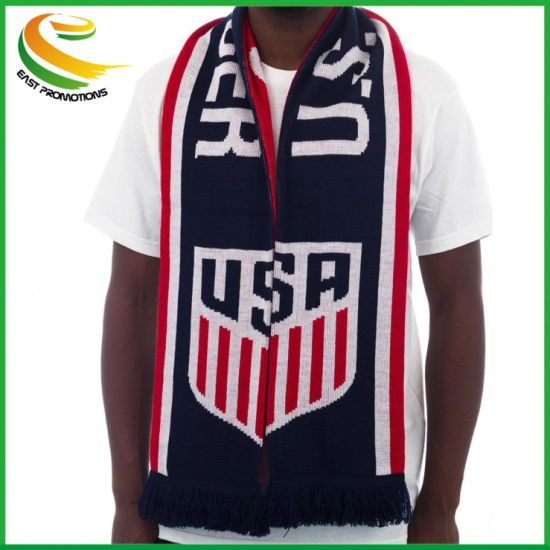 Cheap Wholesale Sport Fan Football Scarf for Acrylic Knitted